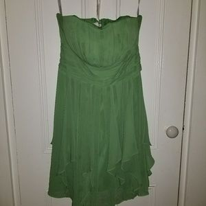 Strapless spring green dress