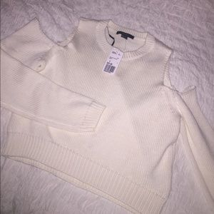 Forever 21 white/cream open-shoulder sweater, NWT