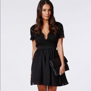 Missguided Faith Lace Backless Skater Dress