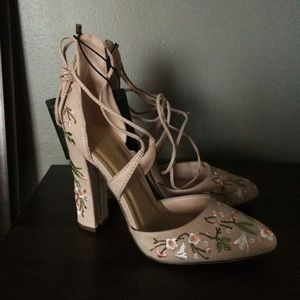 Forever 21 Floral Embroidered Lace Up Heels