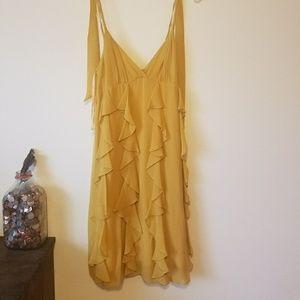 BCBG Mustard Yellow Silk dress