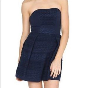 Strapless Navy Dress With Detailing