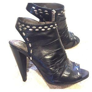 Black zip up heels