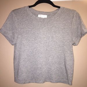 Forever 21 Gray Cuffed Short Sleeve Crop Top Tee M