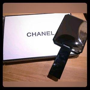 AUTHENTIC CHANAL BLACK HAND HELD MIRROR