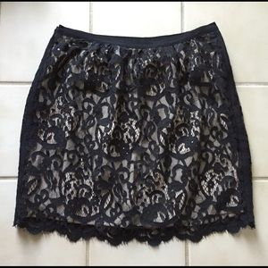 Ann Taylor LOFT Black Lace Nude Lining Skirt 2