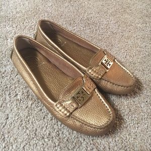 NWOT Tory Burch Gold Loafers