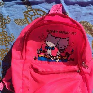 Hot Pink Kawaii Cute Love Cats on Backpack