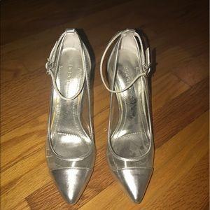 Clear & silver heels