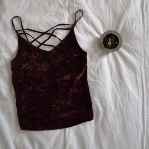 NWT! American Eagle Outfitters Cropped Velvet Cami