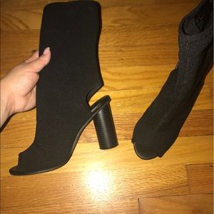 Stretch open toe booties