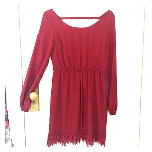 Maroon Long Sleeve Dress with lace trim