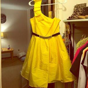M One-shoulder Taffeta formal dress Yellow