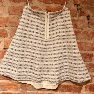J. Crew Skirt In Cream With Blue & Gold Design