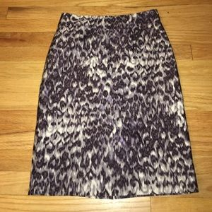 J. Crew Pencil Skirt Purple Animal Print Wool