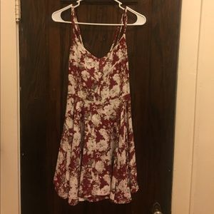 Red & White Floral Print Dresd