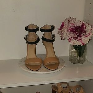 Black and nude sandals