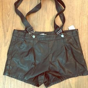 Brand new with tags leather overall shorts