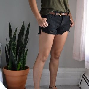 Free People Black High Rise Shorts