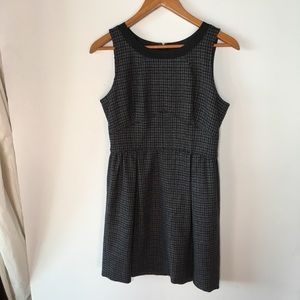 J Crew wool pleated houndstooth dress