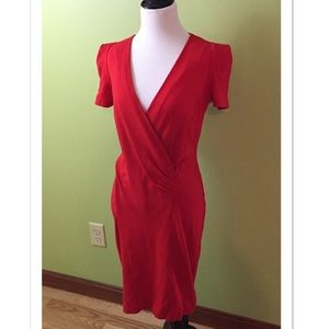 French Connection Red Short Sleeve Fitted Dress 10