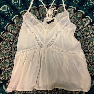 Ivory Lace Detail Racerback Tank Top