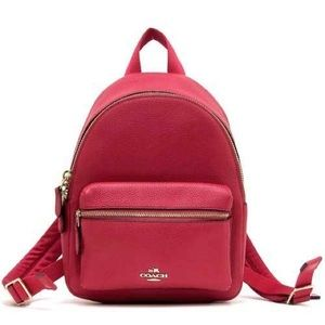 Coach Mini Charlie Leather Backpack Bright Pink