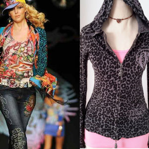 Ed Hardy Leopard Print Gray zip-up sweater hoodie