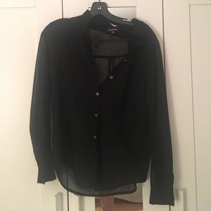 BLACK WITH GOLD BUTTON SHEER BUTTON UP BEBE BLOUSE