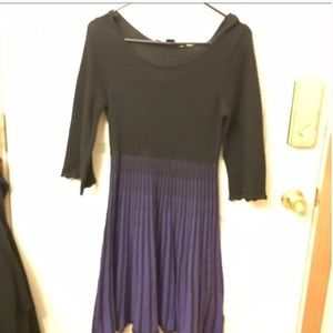 French connection black and purple sweater dress