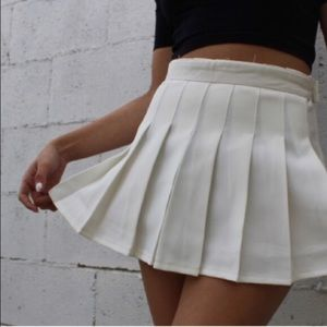 American apparel white pleated aa tennis skirt new