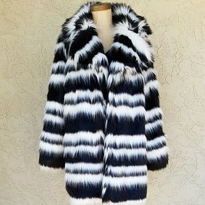 Forever 21 Striped Faux Fur Coat