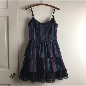 BETSEY JOHNSON Striped Tiered Ruffle Dress Sz 4