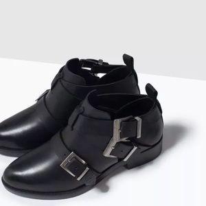 Zara Black Biker Straps metal buckles ankle boots