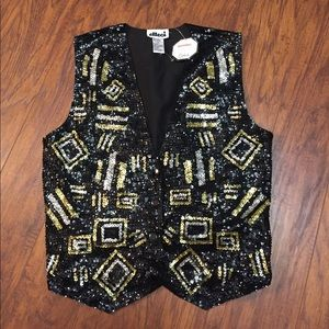 Vintage Effeci Sequined Vest 1980's Carducci NWT