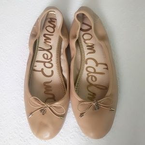 Sam Edelman Felicia Nude Leather Ballet Flats
