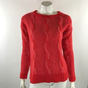Sparkle Fade Sweater Med Coral Orange Pink Cable