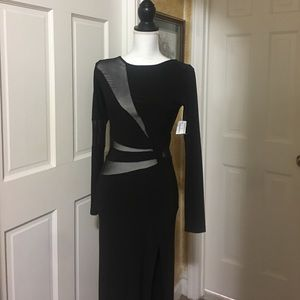 Black sheer high split dress size Small