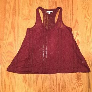 American Eagle Maroon Lace Top