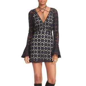 JUST IN Free People Black Crochet Minidress