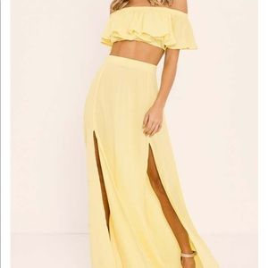 Dresses & Skirts - New super cute yellow two piece maxiskirt top XS/S