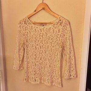 Loft Lacey cream blouse