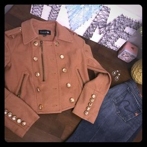 """🍁🍂 Forever 21 Cropped """"Military"""" jacket sz Small"""