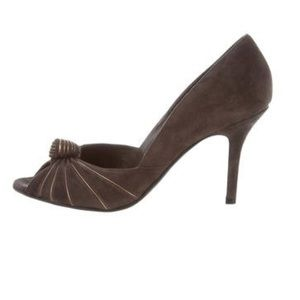 GUCCI Suede Peep-toe Pumps Size 8.5 Auth in Box