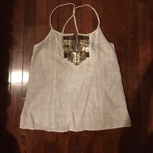 White and gold embroidered tank