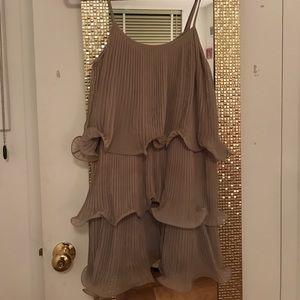 Fun flirty mauve ruffle layered dress!