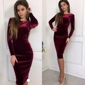 Dresses & Skirts - 💎 CRANBERRY VELVET LONG SLEEVE DRESS 💎