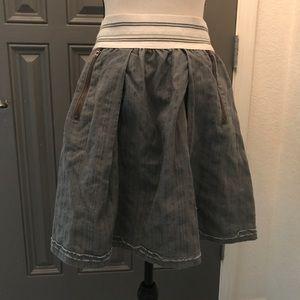 Anthro Skirt Gray Pleated Cotton Miniskirt Small