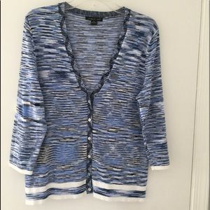 Blue & White Print Button Down Cardigan - XL