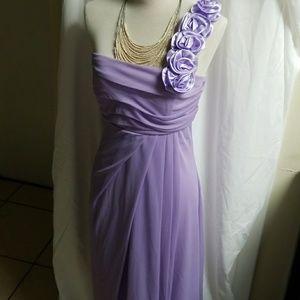 Lavender evening dress one shoulder dress